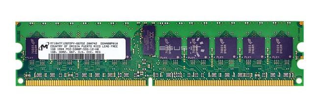 Memory RAM 1x 1GB Samsung ECC REGISTERED DDR2  667MHz PC2-5300 RDIMM | MT18HTF12872PY-667D2