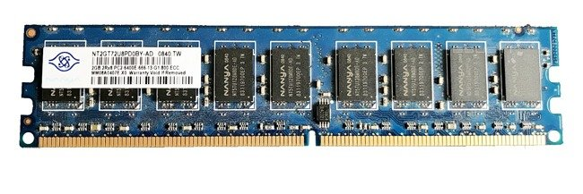 Memory RAM 1x 2GB Nanya ECC UNBUFFERED DDR2  800MHz PC2-6400 UDIMM | NT2GT72U8PD0BY-AD